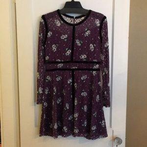 Xhilaration purple floral long sleeve lace dress